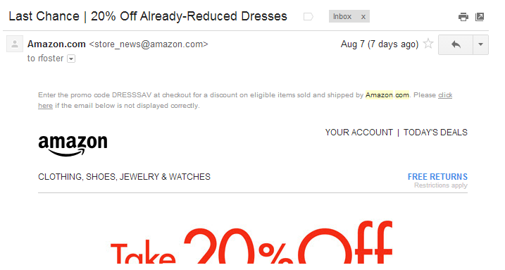 Last+Chance+20%+Off+Already+Reduced+Dresses+Amazon+Romona+Foster+Email+Marketing.png