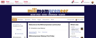 Milimompreneer Meetup.com home page.png