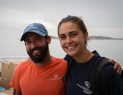 Elissa and Scotty, another employee of the Thompson Island Outward Bound Education Center