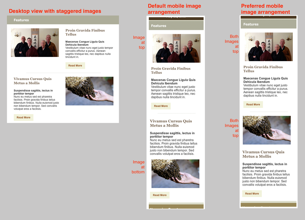 Staggered images - default mobile view and preferred