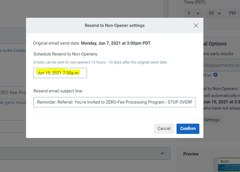 Selecting A Resend time