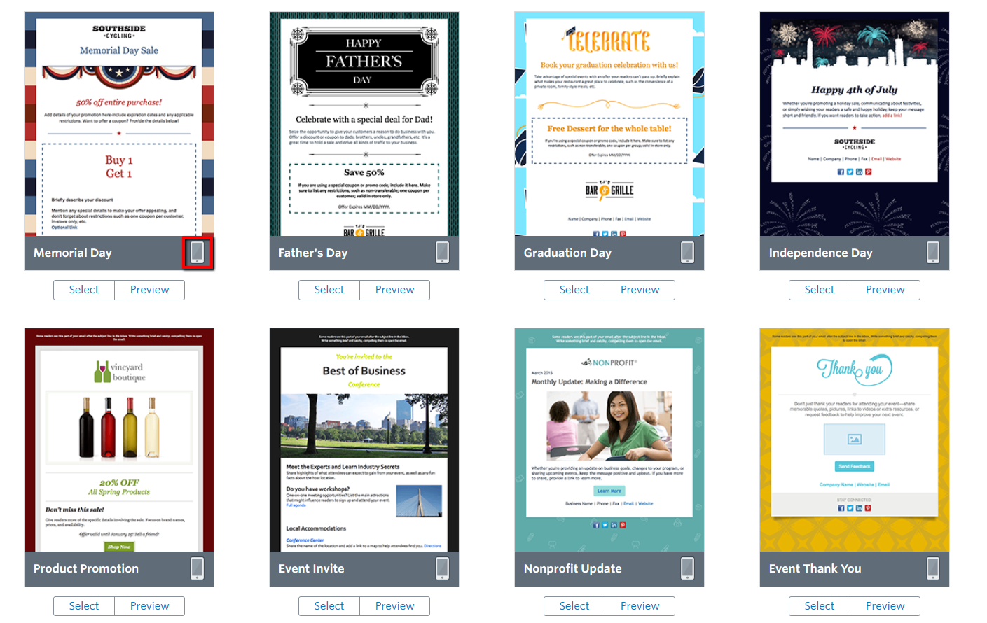 How To Find Mobile Friendly Templates Constant Contact Community - Constant contact templates