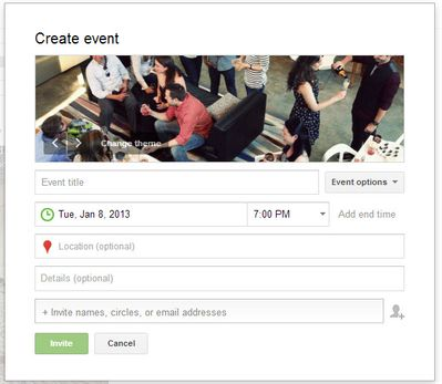 Google Plus Event Creation