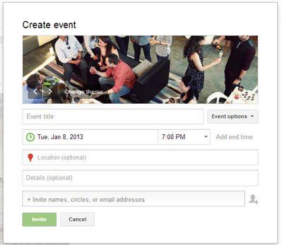 Google Plus Event Creation