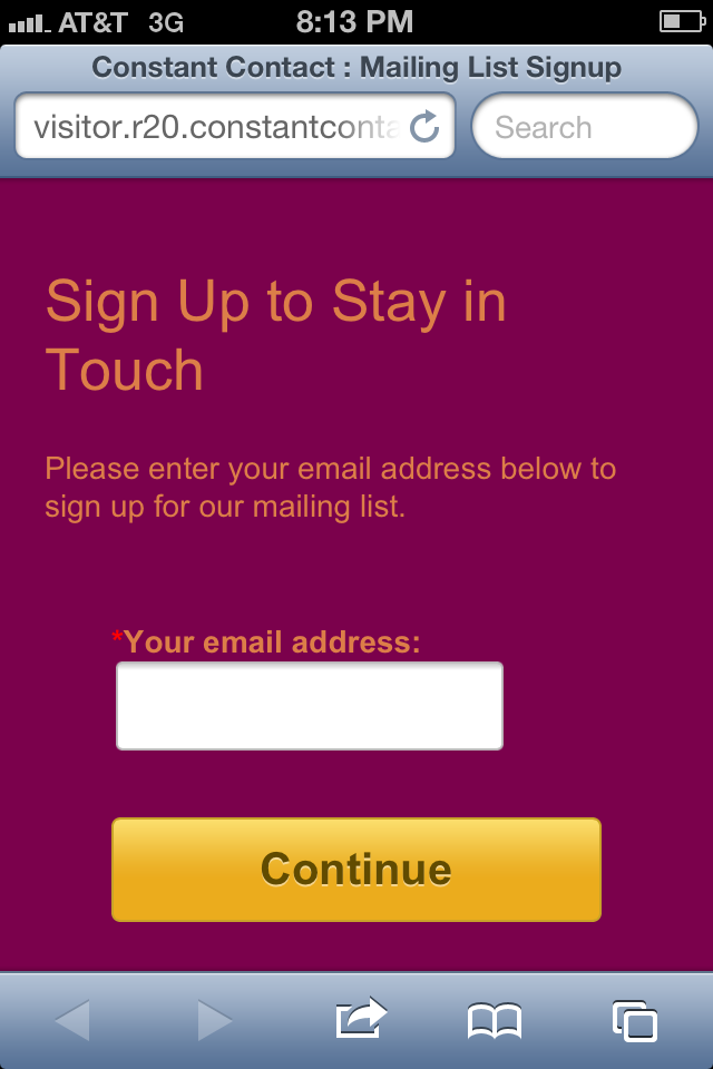 New Update To Your Join My Mailing List Form Constant